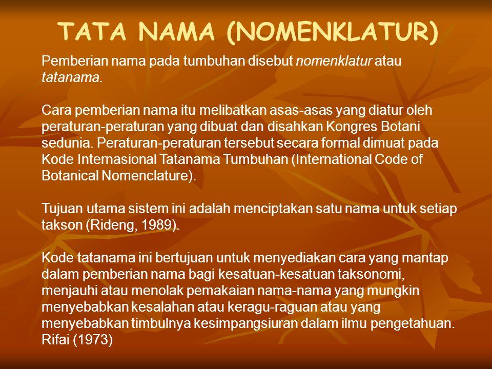 TATA NAMA (NOMENKLATUR) Pemberian nama pada tumbuhan disebut nomenklatur atau tatanama. Cara pemberian nama itu melibatkan asas-asas yang diatur oleh