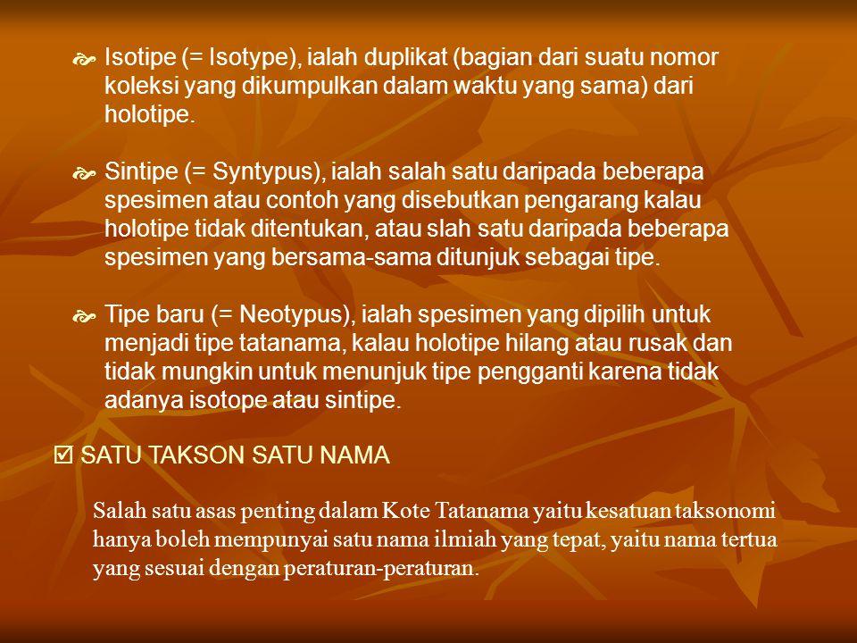  SATU TAKSON SATU NAMA Salah satu asas penting dalam Kote Tatanama yaitu kesatuan taksonomi hanya boleh mempunyai satu nama ilmiah yang tepat, yaitu