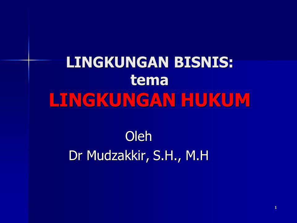 1 LINGKUNGAN BISNIS: tema LINGKUNGAN HUKUM Oleh Dr Mudzakkir, S.H., M.H
