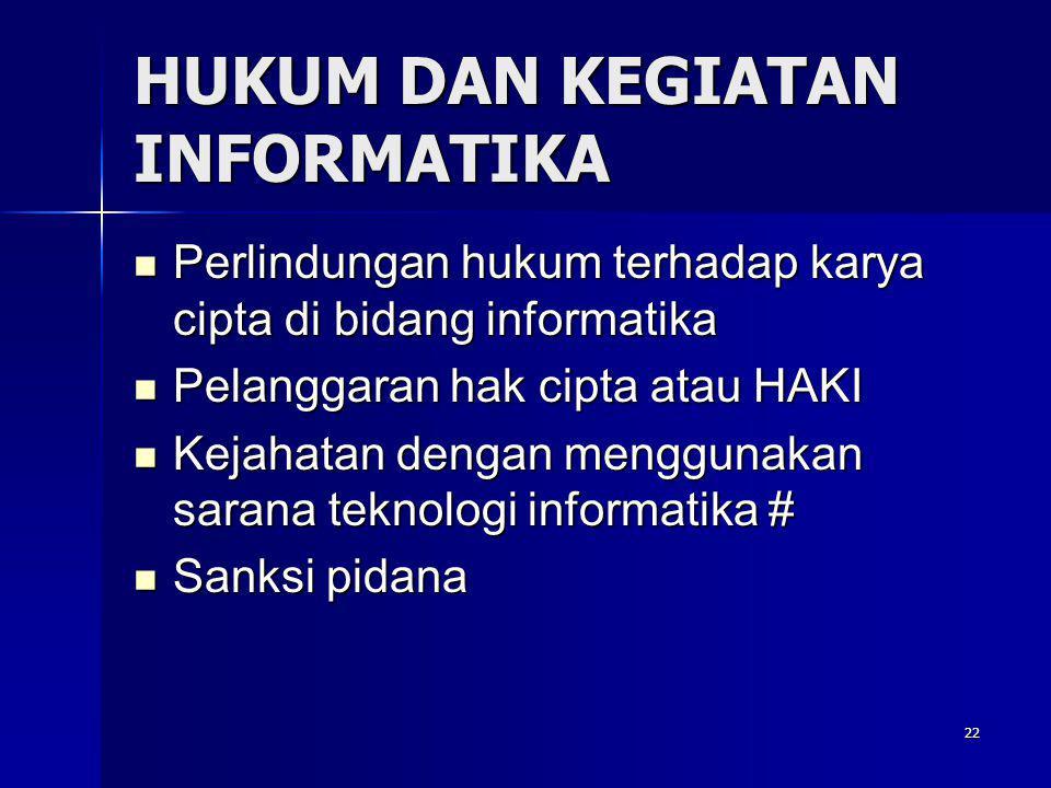 22 HUKUM DAN KEGIATAN INFORMATIKA  Perlindungan hukum terhadap karya cipta di bidang informatika  Pelanggaran hak cipta atau HAKI  Kejahatan dengan menggunakan sarana teknologi informatika #  Sanksi pidana