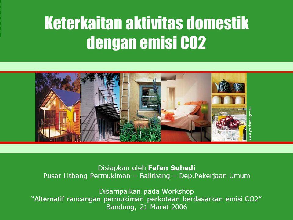 Disiapkan oleh Fefen Suhedi Pusat Litbang Permukiman – Balitbang – Dep.Pekerjaan Umum Disampaikan pada Workshop Alternatif rancangan permukiman perkotaan berdasarkan emisi CO2 Bandung, 21 Maret 2006 www.yourhome.gov.au Keterkaitan aktivitas domestik dengan emisi CO2