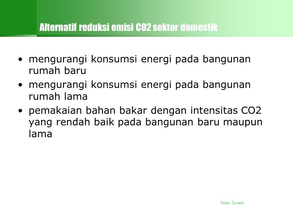 Fefen Suhedi Alternatif reduksi emisi CO2 sektor domestik •mengurangi konsumsi energi pada bangunan rumah baru •mengurangi konsumsi energi pada bangunan rumah lama •pemakaian bahan bakar dengan intensitas CO2 yang rendah baik pada bangunan baru maupun lama