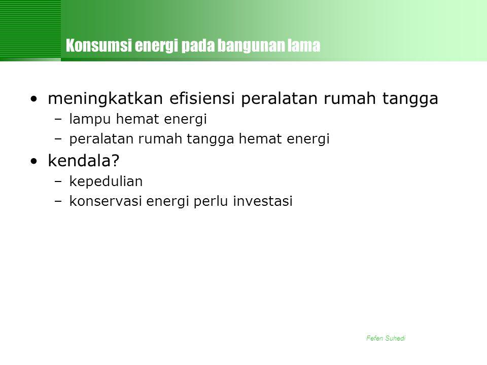 Fefen Suhedi Konsumsi energi pada bangunan lama •meningkatkan efisiensi peralatan rumah tangga –lampu hemat energi –peralatan rumah tangga hemat energi •kendala.