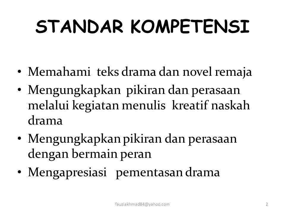 TEKNIK BERMAIN PERAN (DRAMA) Disusun oleh : AKHMAD FAUZI, S.Pd Guru bahasa Indonesia SMP NEGERI 3 JENGGAWAH Jenggawah, Agustus 2010 1fauziakhmad84@yah