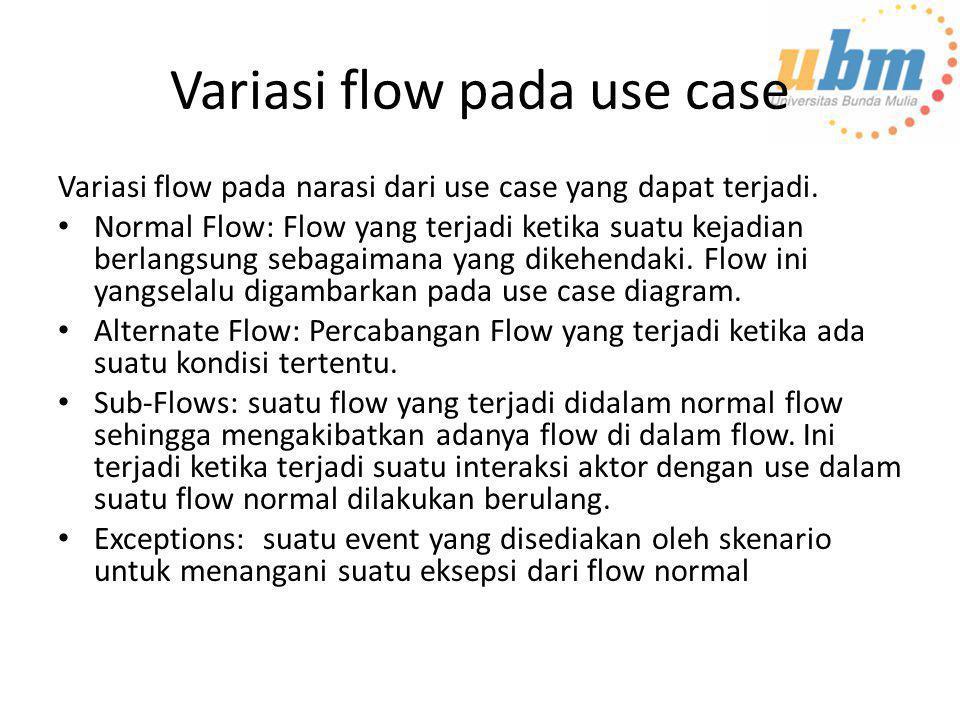 Variasi flow pada use case Variasi flow pada narasi dari use case yang dapat terjadi. • Normal Flow: Flow yang terjadi ketika suatu kejadian berlangsu