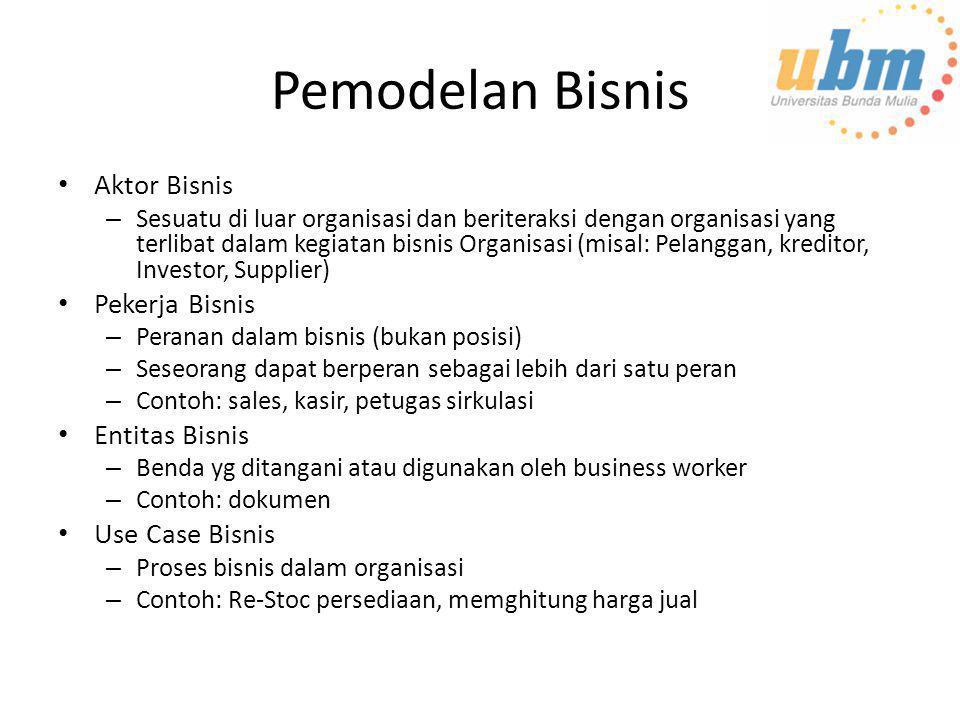 Pemodelan Bisnis • Aktor Bisnis – Sesuatu di luar organisasi dan beriteraksi dengan organisasi yang terlibat dalam kegiatan bisnis Organisasi (misal: