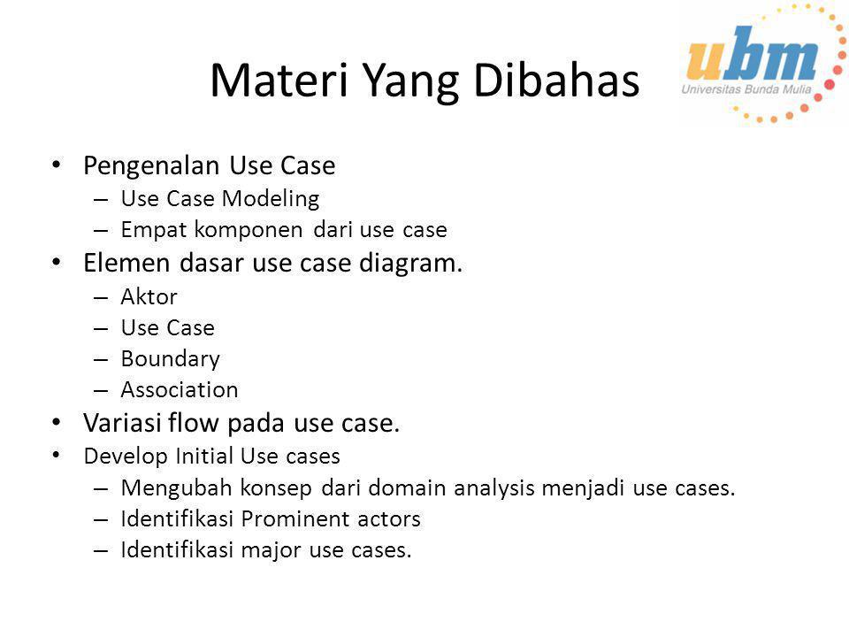Materi Yang Dibahas • Pengenalan Use Case – Use Case Modeling – Empat komponen dari use case • Elemen dasar use case diagram. – Aktor – Use Case – Bou