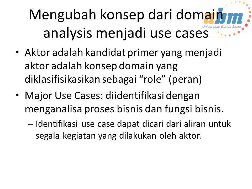 Mengubah konsep dari domain analysis menjadi use cases • Aktor adalah kandidat primer yang menjadi aktor adalah konsep domain yang diklasifisikasikan