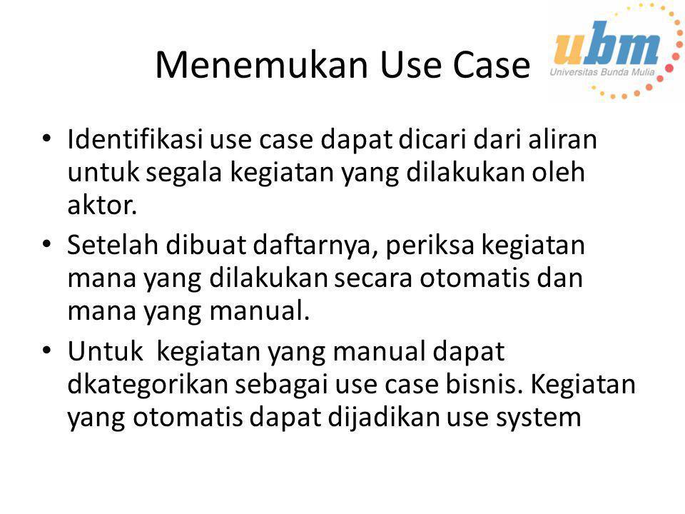 Menemukan Use Case • Identifikasi use case dapat dicari dari aliran untuk segala kegiatan yang dilakukan oleh aktor. • Setelah dibuat daftarnya, perik