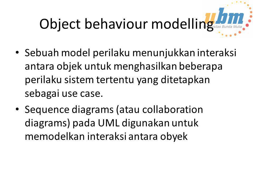 Object behaviour modelling • Sebuah model perilaku menunjukkan interaksi antara objek untuk menghasilkan beberapa perilaku sistem tertentu yang diteta