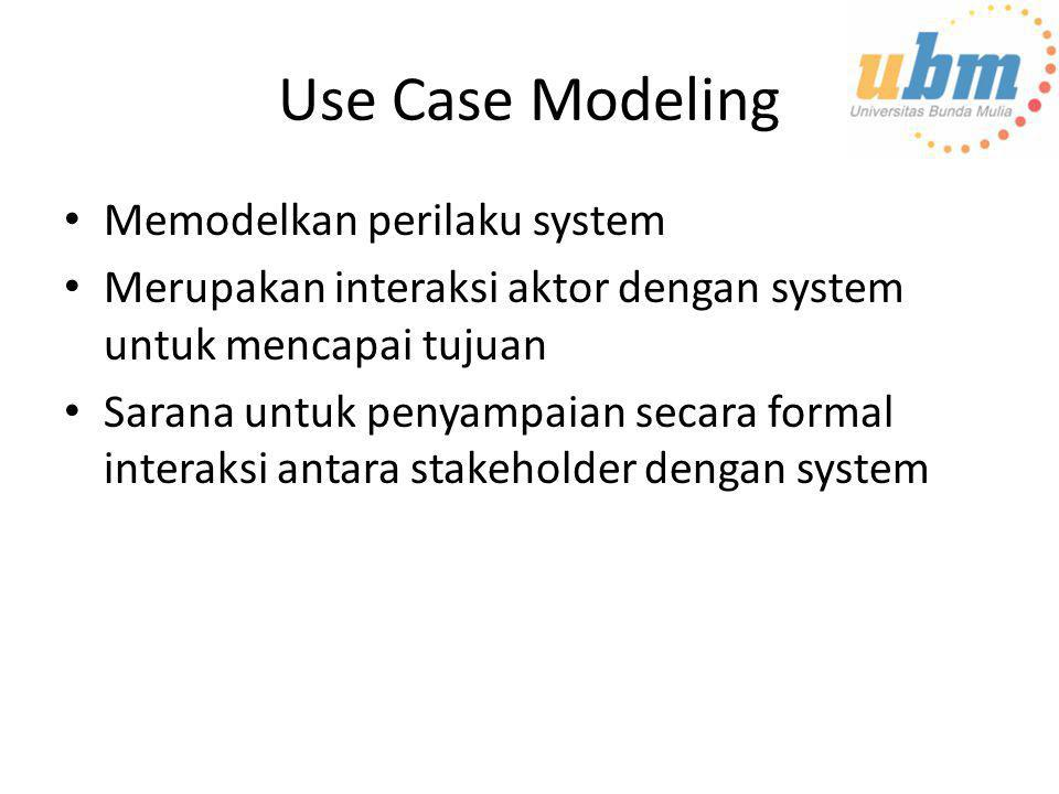 Use Case Modeling • Memodelkan perilaku system • Merupakan interaksi aktor dengan system untuk mencapai tujuan • Sarana untuk penyampaian secara forma