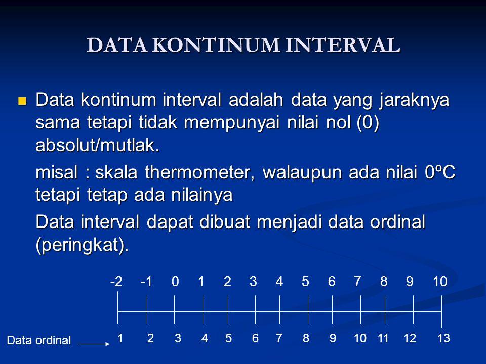 DATA KONTINUM INTERVAL  Data kontinum interval adalah data yang jaraknya sama tetapi tidak mempunyai nilai nol (0) absolut/mutlak.
