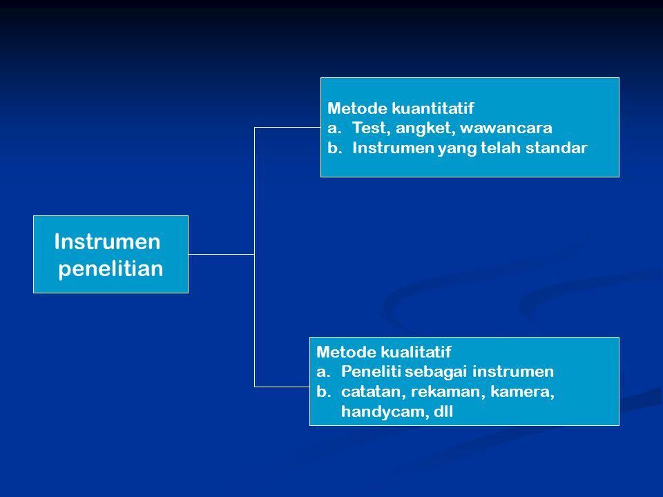 Instrumen penelitian Metode kuantitatif a.Test, angket, wawancara b.Instrumen yang telah standar Metode kualitatif a.Peneliti sebagai instrumen b.catatan, rekaman, kamera, handycam, dll
