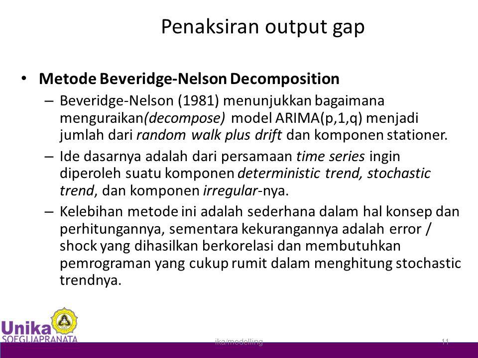 Penaksiran output gap • Metode Beveridge-Nelson Decomposition – Beveridge-Nelson (1981) menunjukkan bagaimana menguraikan(decompose) model ARIMA(p,1,q