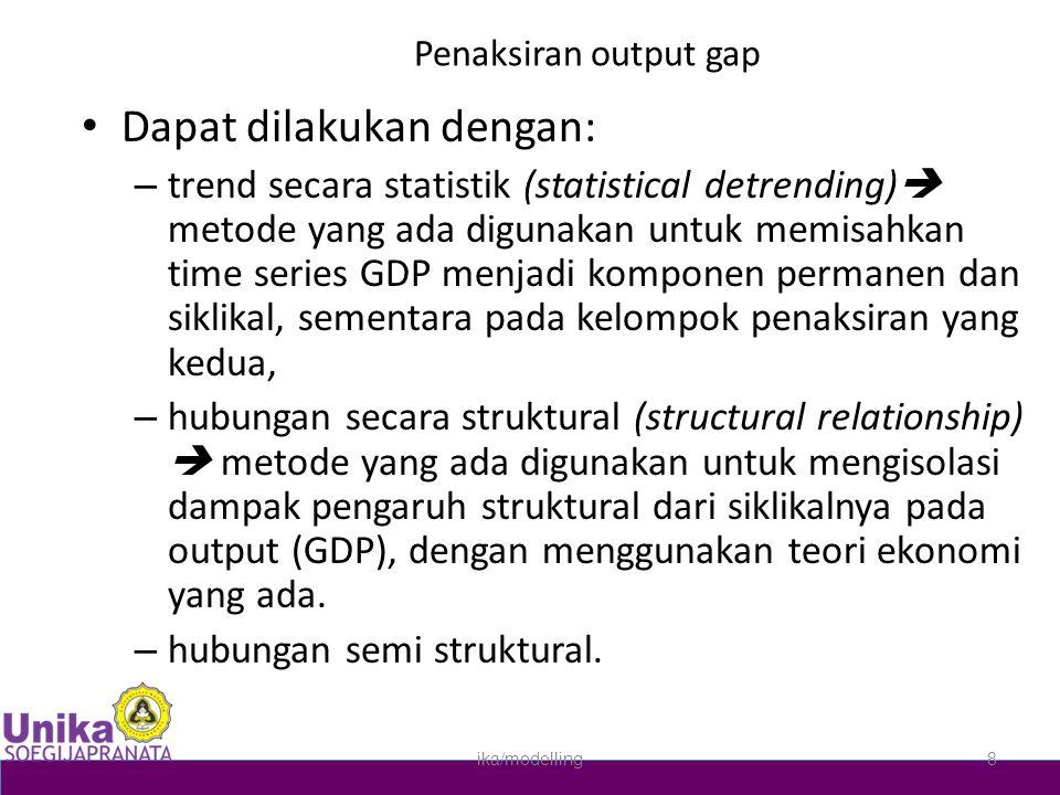 Penaksiran output gap • Dapat dilakukan dengan: – trend secara statistik (statistical detrending)  metode yang ada digunakan untuk memisahkan time se