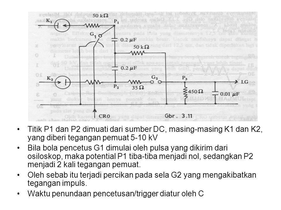 •Titik P1 dan P2 dimuati dari sumber DC, masing-masing K1 dan K2, yang diberi tegangan pemuat 5-10 kV •Bila bola pencetus G1 dimulai oleh pulsa yang d