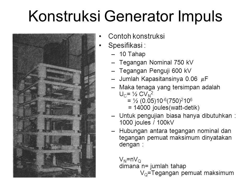 Konstruksi Generator Impuls •Contoh konstruksi •Spesifikasi : –10 Tahap –Tegangan Nominal 750 kV –Tegangan Penguji 600 kV –Jumlah Kapasitansinya 0.06