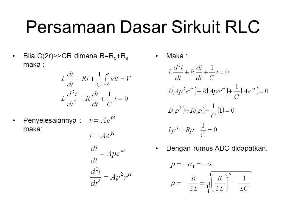 Persamaan Dasar Sirkuit RLC •Bila C(2r)>>CR dimana R=R o +R s maka : •Penyelesaiannya : maka: •Maka : •Dengan rumus ABC didapatkan: