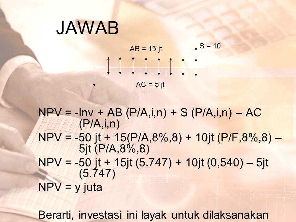 JAWAB NPV = -Inv + AB (P/A,i,n) + S (P/A,i,n) – AC (P/A,i,n) NPV = -50 jt + 15(P/A,8%,8) + 10jt (P/F,8%,8) – 5jt (P/A,8%,8) NPV = -50 jt + 15jt (5.747