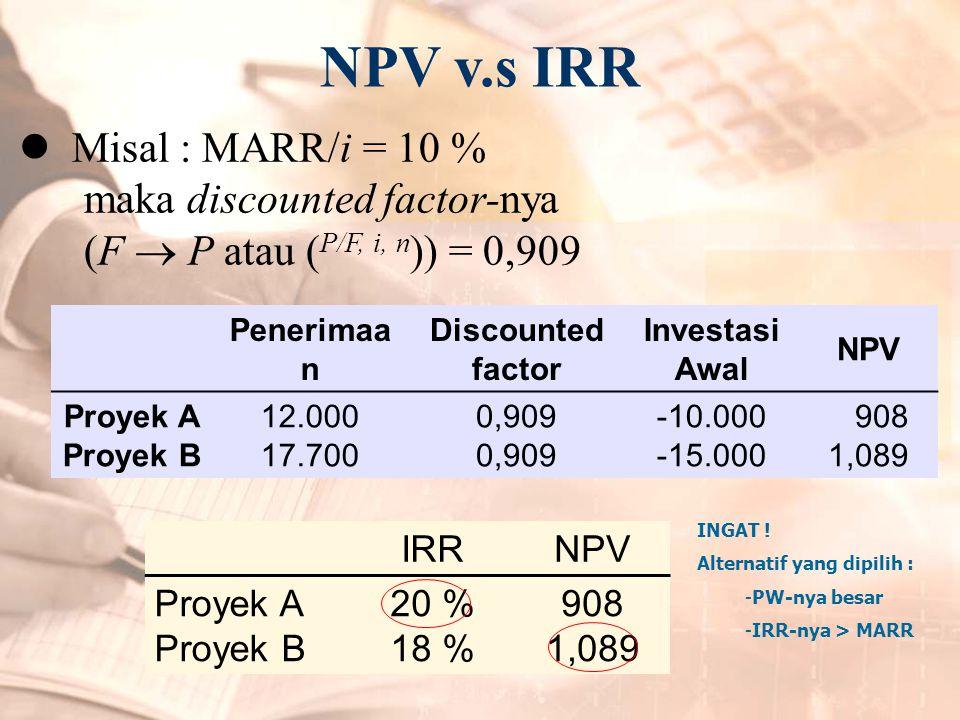 NPV v.s IRR  Misal : MARR/i = 10 % maka discounted factor-nya (F  P atau ( P/F, i, n )) = 0,909 Penerimaa n Discounted factor Investasi Awal NPV Pro
