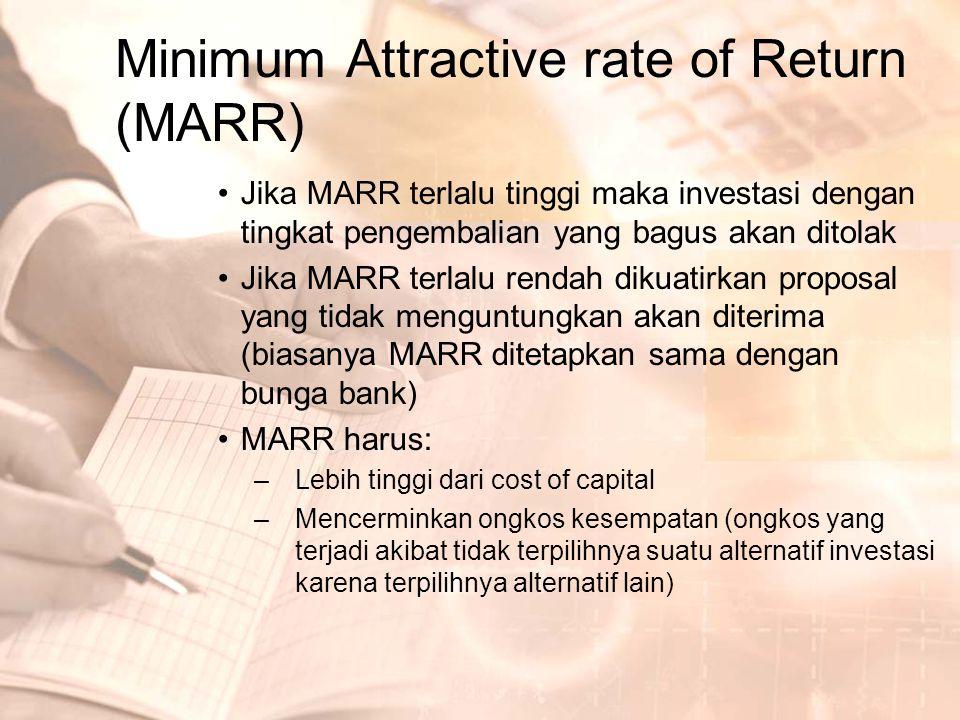 PENENTUAN MARR –Tambahkan suatu persentase tetap pada cost of capital –Rate of Return 5 tahun yang lalu dirata-rata digunakan sebagai MARR tahun ini –Gunakan MARR yang berbeda untuk horizon perencanaan yang berbeda dari investasi awal –Gunakan MARR yang berbeda untuk perkembangan yang berbeda dari investasi awal –Gunakan MARR yang berbeda untuk investasi baru dan dan investasi yang berupa proyek perbaikan (reduksi) ongkos –Gunakan alat manajemen untuk mendorong/menghambat iinvestasi, tergantung kondisi ekonomi perusahaan –Gunakan rata-rata tingkat pengembalian modal dari pemilik saham untuk semua perusahaan pada kelompok industri yang sama