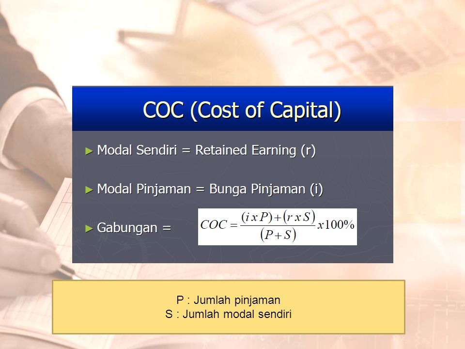 P : Jumlah pinjaman S : Jumlah modal sendiri