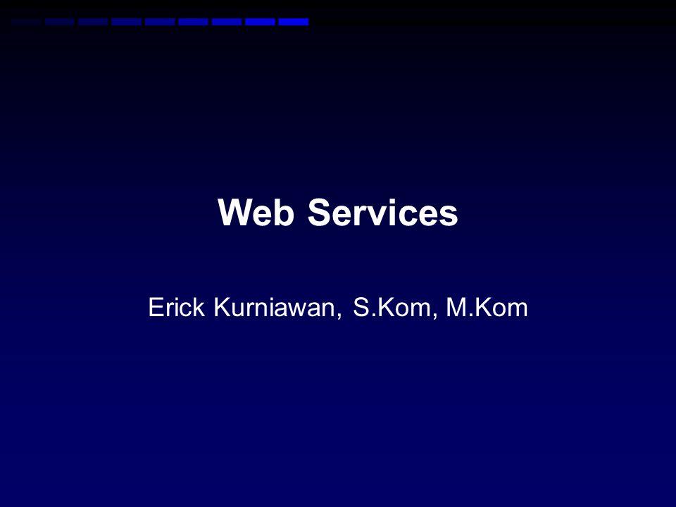 XML-RPC •Adalah mekanisme pengiriman method / function dalam format XML melalui HTTP dalam jaringan Internet •Client menentukan prosedur dan parameter yang diinginkan ke dalam XML request, sedangkan server akan meresponse entah itu fault atau benar dalam XML response •Dikembangkan tahun 1998 oleh UserLand Software (http://www.xmlrpc.com)