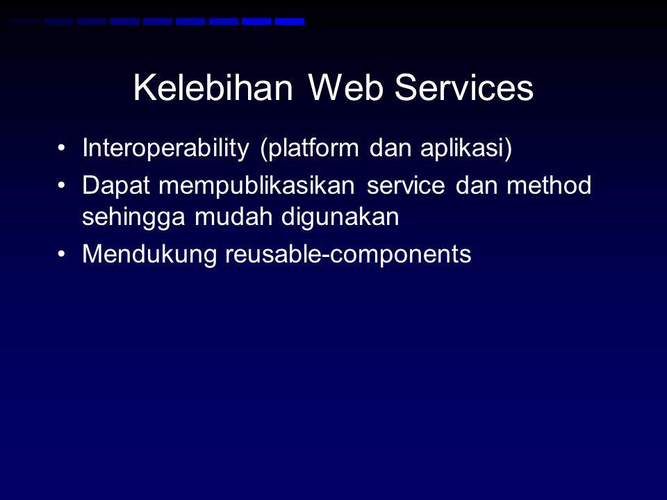 Kelebihan Web Services •Interoperability (platform dan aplikasi) •Dapat mempublikasikan service dan method sehingga mudah digunakan •Mendukung reusable-components
