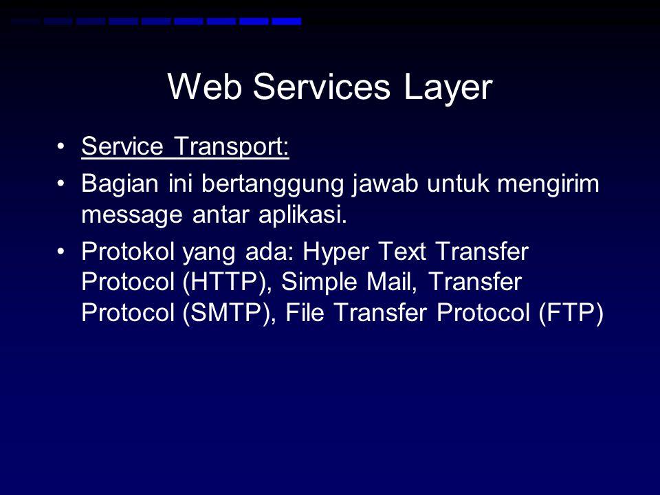 Web Services Layer •Service Transport: •Bagian ini bertanggung jawab untuk mengirim message antar aplikasi. •Protokol yang ada: Hyper Text Transfer Pr