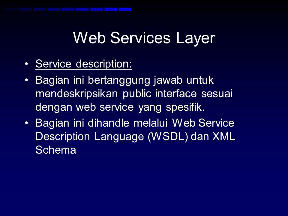 Web Services Layer •Service description: •Bagian ini bertanggung jawab untuk mendeskripsikan public interface sesuai dengan web service yang spesifik.