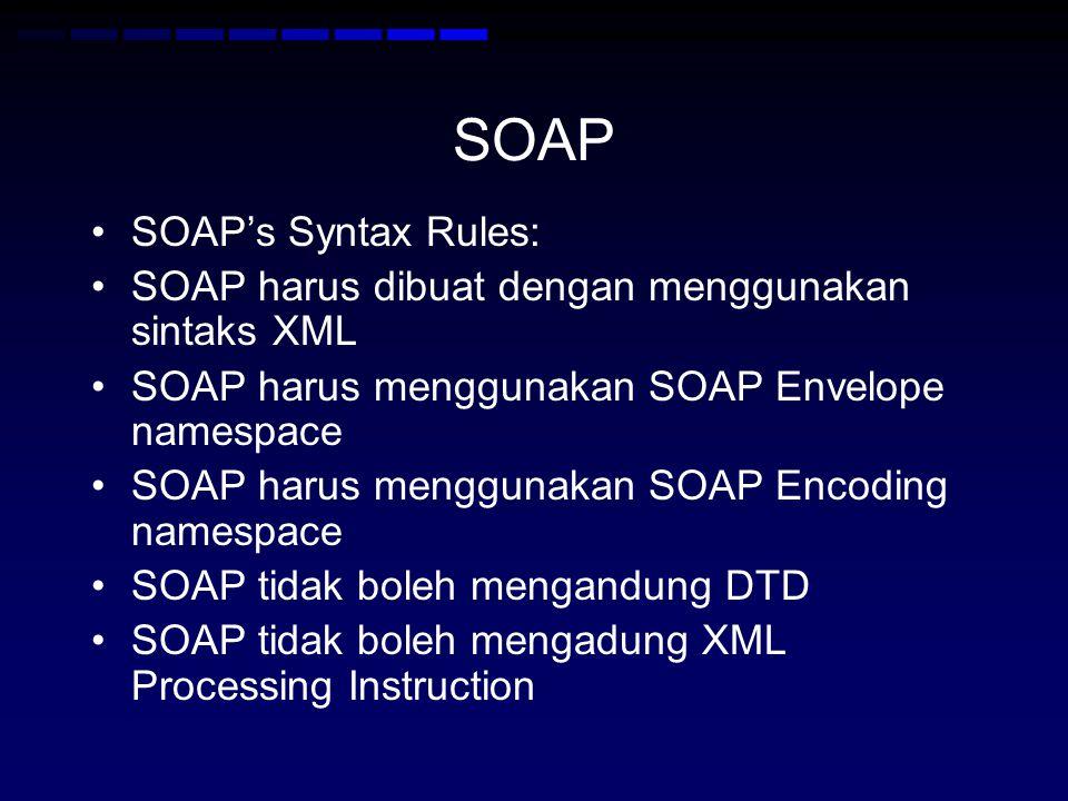 SOAP •SOAP's Syntax Rules: •SOAP harus dibuat dengan menggunakan sintaks XML •SOAP harus menggunakan SOAP Envelope namespace •SOAP harus menggunakan SOAP Encoding namespace •SOAP tidak boleh mengandung DTD •SOAP tidak boleh mengadung XML Processing Instruction