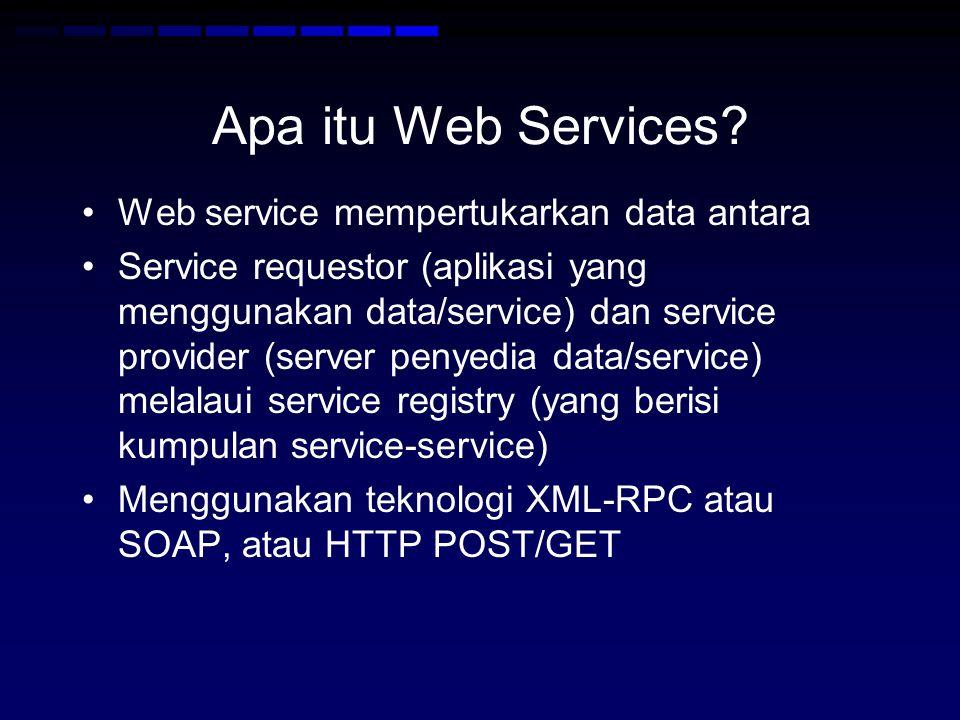 Apa itu Web Services? •Web service mempertukarkan data antara •Service requestor (aplikasi yang menggunakan data/service) dan service provider (server