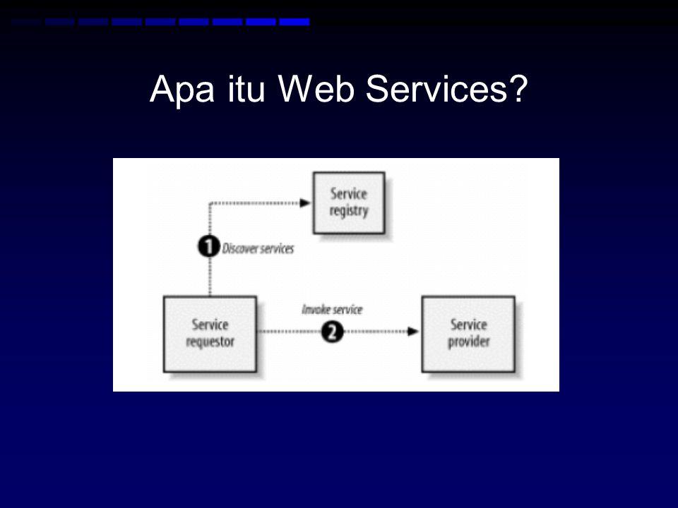 SOAP •SOAP Envelope menggunakan namespace http://www.w3.org/2001/12/soap-envelope http://www.w3.org/2001/12/soap-envelope •Default namespace untuk SOAP encoding dan data types adalah http://www.w3.org/2001/12/soap-encoding