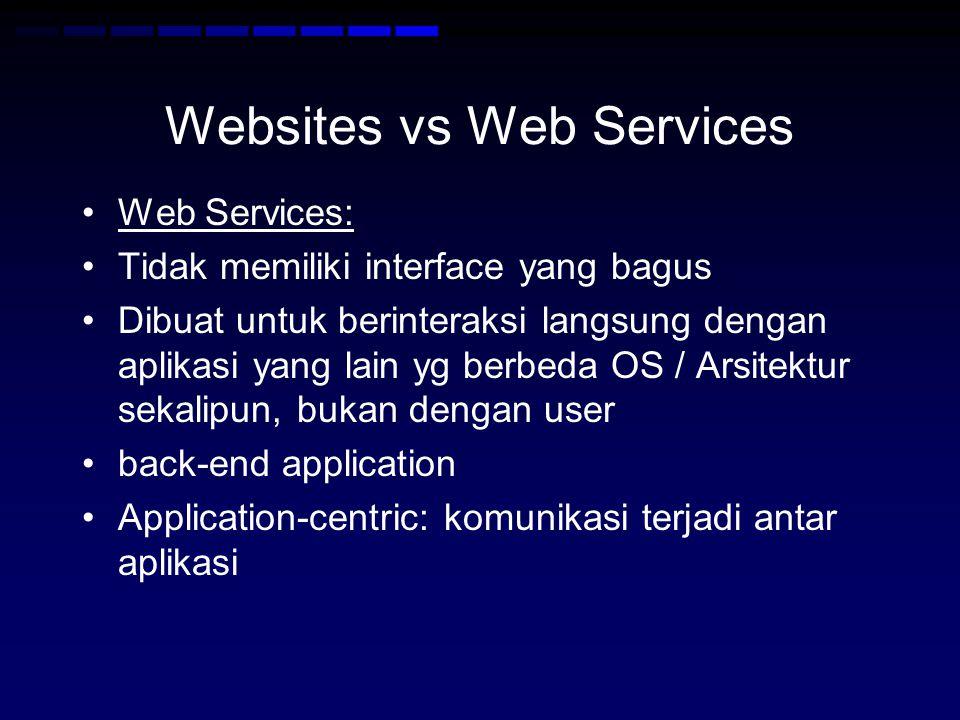 Web Services •Web service harus self-describing : jika kita membuat web service, kita harus juga mempublikasikan public interface ke service tersebut •Minimalnya, service harus memiliki human- readable documentation sehingga developer lain dapat mengintegrasikan aplikasinya dengan web service yang kita buat