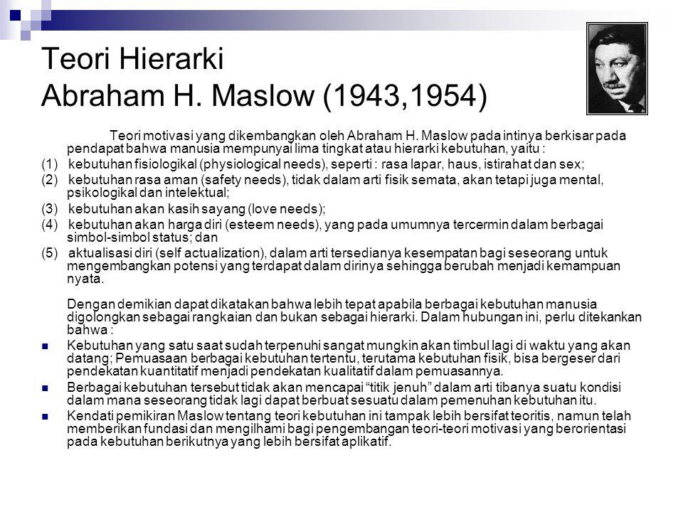 Teori Hierarki Abraham H. Maslow (1943,1954) Teori motivasi yang dikembangkan oleh Abraham H. Maslow pada intinya berkisar pada pendapat bahwa manusia