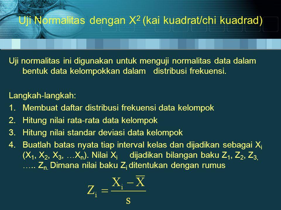 Langkah-langkah 5.Tentukan besar peluang masing-masing nilai z berdasarkan tabel Z, dan s ebut dengan F (Z i ) 6.Tentukan luas tiap kelas interval dengan cara mengurangi nilai F (Z i ) yang lebih besar di atas atau di bawahnya.