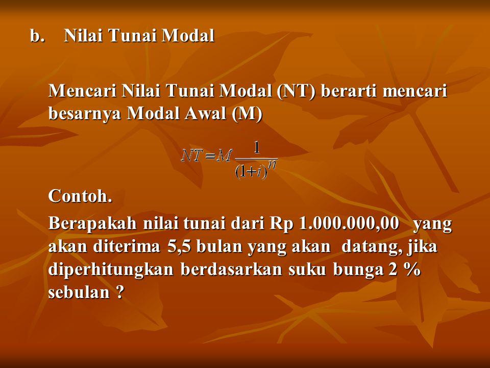 b. Nilai Tunai Modal Mencari Nilai Tunai Modal (NT) berarti mencari besarnya Modal Awal (M) Contoh. Berapakah nilai tunai dari Rp 1.000.000,00 yang ak