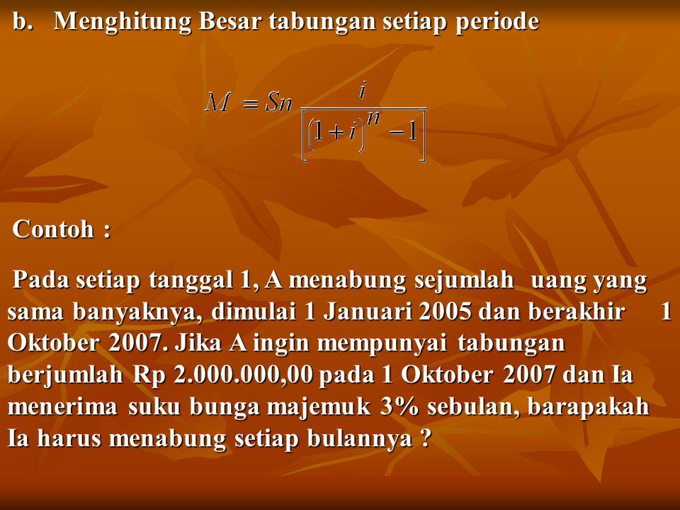 b. Menghitung Besar tabungan setiap periode Contoh : Pada setiap tanggal 1, A menabung sejumlah uang yang sama banyaknya, dimulai 1 Januari 2005 dan b
