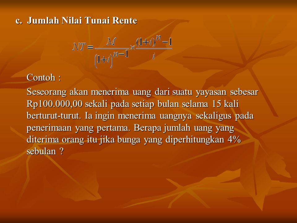 c. Jumlah Nilai Tunai Rente Contoh : Seseorang akan menerima uang dari suatu yayasan sebesar Rp100.000,00 sekali pada setiap bulan selama 15 kali bert