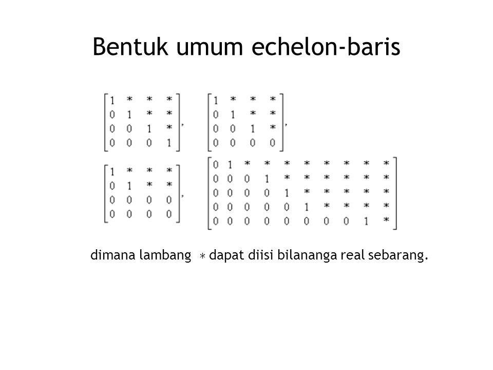 Bentuk umum echelon-baris dimana lambang ∗ dapat diisi bilananga real sebarang.