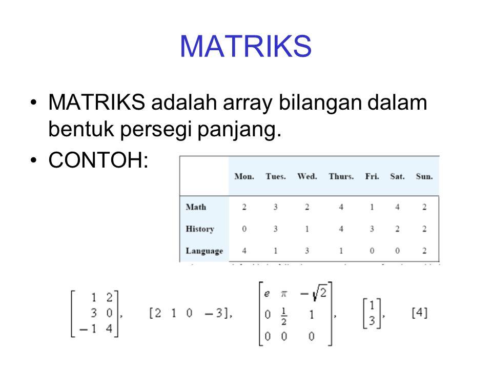 MATRIKS •MATRIKS adalah array bilangan dalam bentuk persegi panjang. •CONTOH: