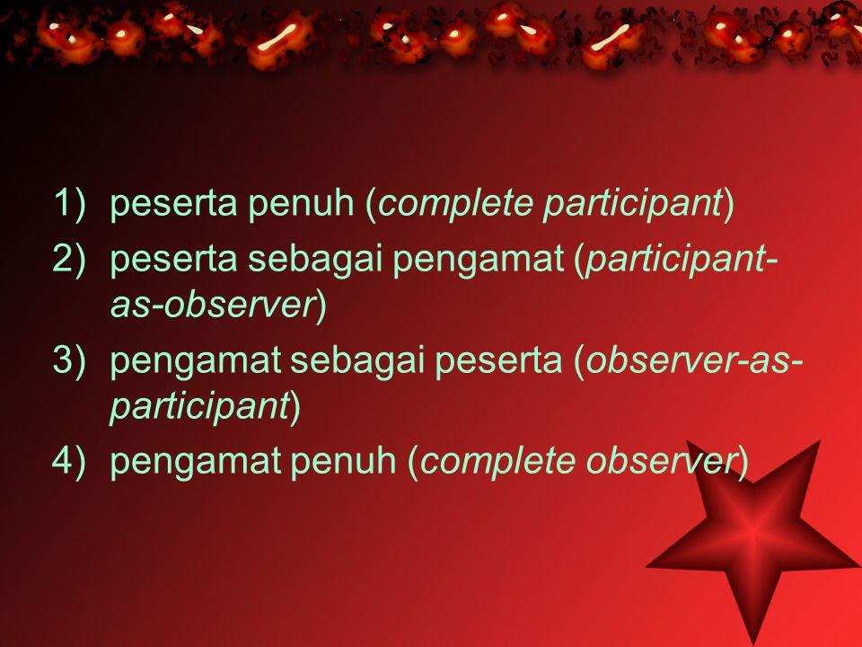 1)peserta penuh (complete participant) 2)peserta sebagai pengamat (participant- as-observer) 3)pengamat sebagai peserta (observer-as- participant) 4)p