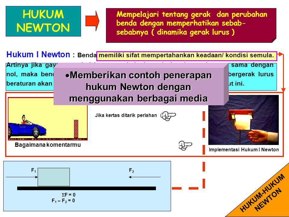 Menjelaskan Hukum Newton sebagai konsep dasar dinamika, dan mengaplikasikannya dalam persoalan-persoalan dinamika sederhana