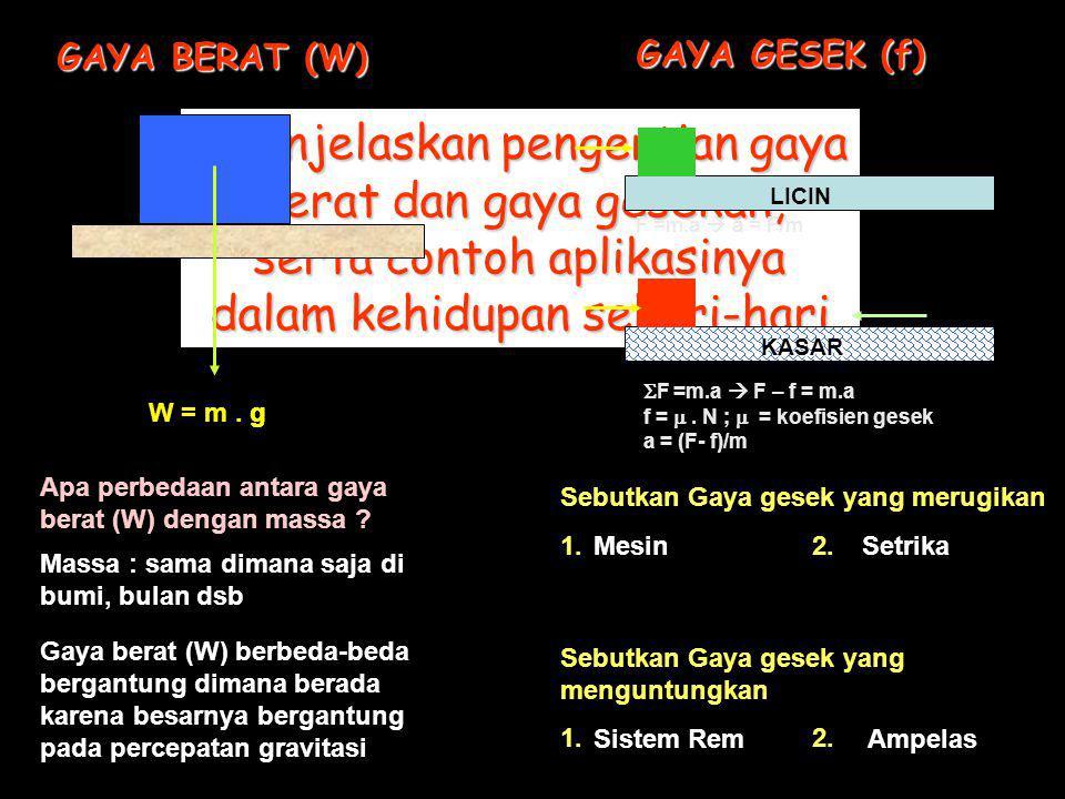 T T F GERAK BENDA DIHUBUNGKAN DENGAN TALI AB a Benda A dan B dihubungkan dengan tali maka pada saat benda B diberi gaya F ke dua benda akan bergerak dengan percepatan (a) yang sama besar Jika massa benda A = mA mA dan massa benda B = m B, maka percepatan a dapat dihitung dengan menganalisa gaya-gaya yang bekerja pada masing-masing benda Benda A  F =m A.a T = m A.a …..(I) Benda B  F =m B.a F - T = m B.a …..(II) Nilai T dari persamaan …(I) di substitusikan pada persamaan..(II) F – m A.a = m B.a F = m A.a + m B.a F = ( mA mA + mB mB ).a F a = ( m A + m B ) Bagaimana perumusan percepatan a, jika tiga buah benda A, B dan C masing- masing dihubungkan dengan tali HUKUM-HUKUM NEWTON