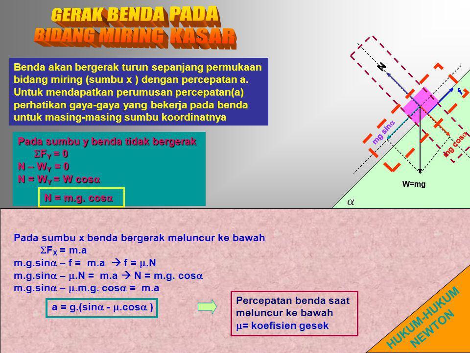  W=mg mg sin  mg cos  N  f W=mg mg sin  mg cos  N f Benda akan bergerak turun sepanjang permukaan bidang miring (sumbu x ) dengan percepatan a.