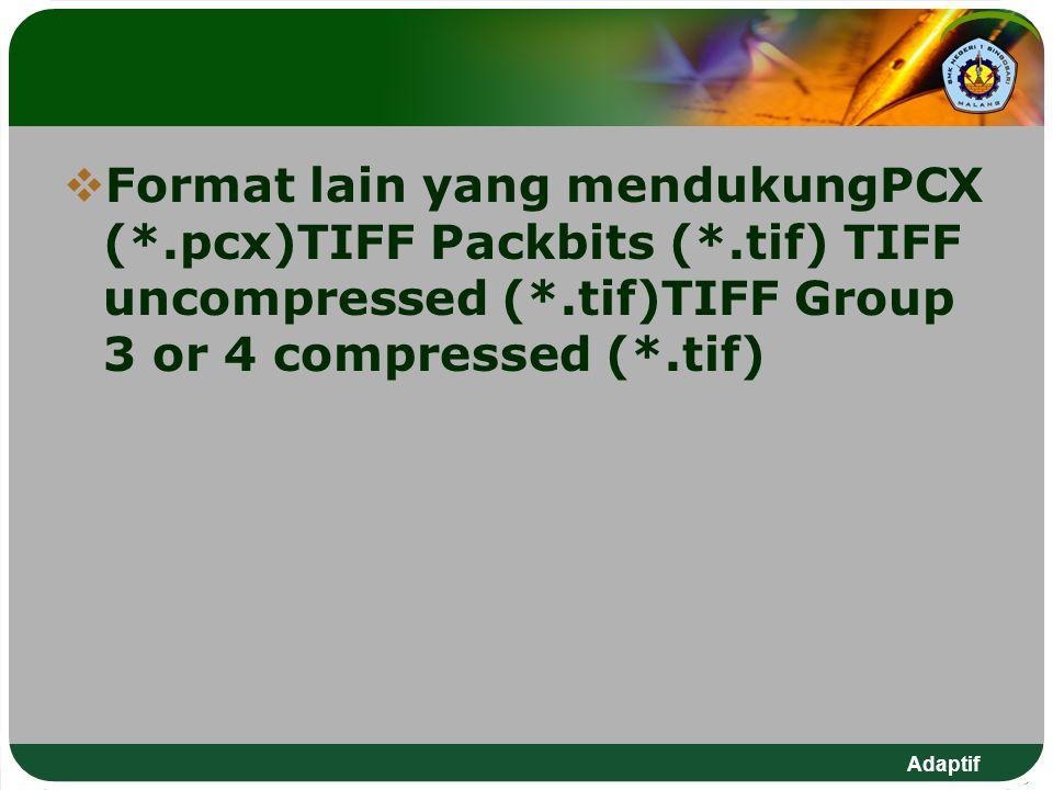 FFormat lain yang mendukungPCX (*.pcx)TIFF Packbits (*.tif) TIFF uncompressed (*.tif)TIFF Group 3 or 4 compressed (*.tif)
