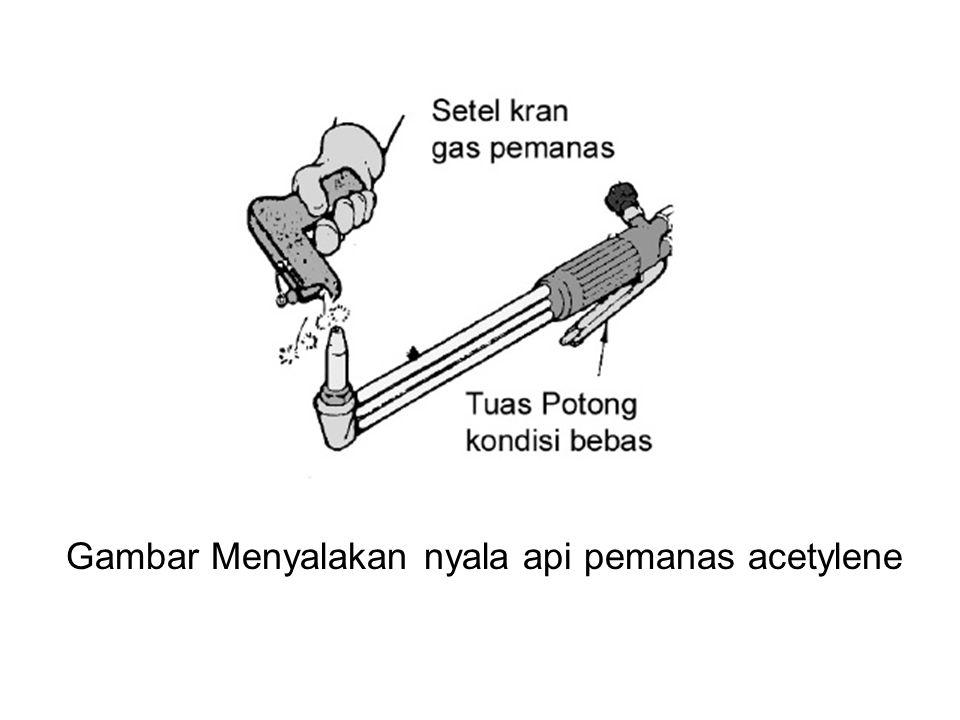 6.Membuka kran oksigen pemanas sedikit demi sedikit, perhatikan perubahan api las pada ujung moncong brander.