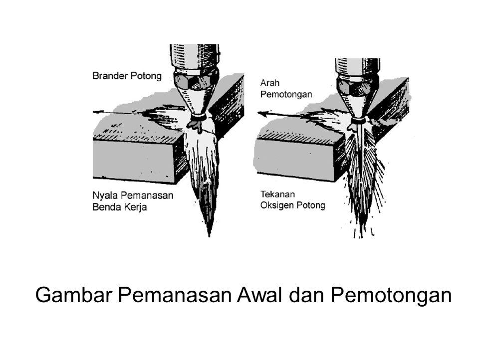 Pemotongan pada Logam TEbal •Apabila akan melakukan pemotongan benda kerja yang tebalnya lebihdari 50 mm, maka pemotongan diawali dengan melakukan pemotongan pada sudut bawah dari benda kerja.