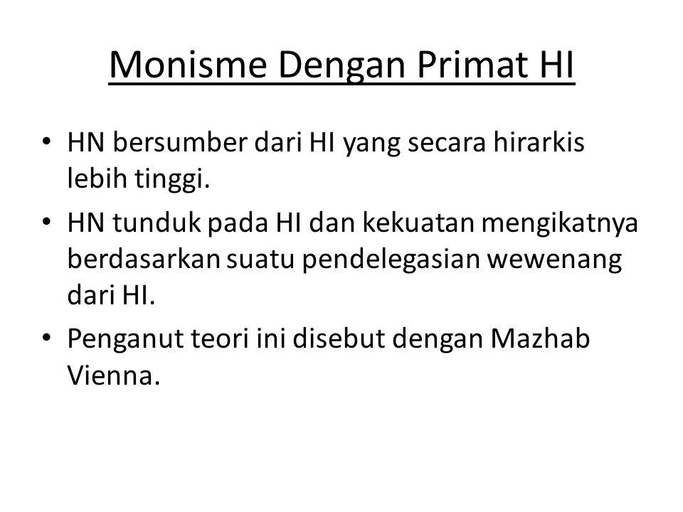 Monisme Dengan Primat HI • HN bersumber dari HI yang secara hirarkis lebih tinggi. • HN tunduk pada HI dan kekuatan mengikatnya berdasarkan suatu pend