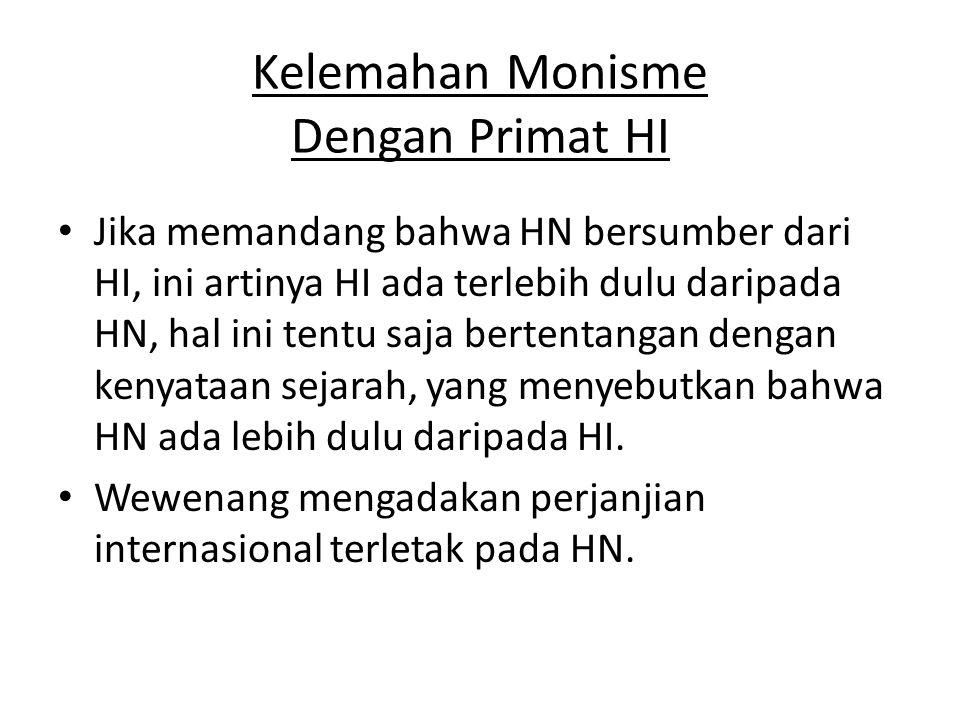 Kelemahan Monisme Dengan Primat HI • Jika memandang bahwa HN bersumber dari HI, ini artinya HI ada terlebih dulu daripada HN, hal ini tentu saja berte